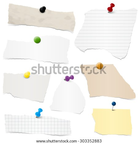 collection of different colored scraps of papers with pin needles - stock vector