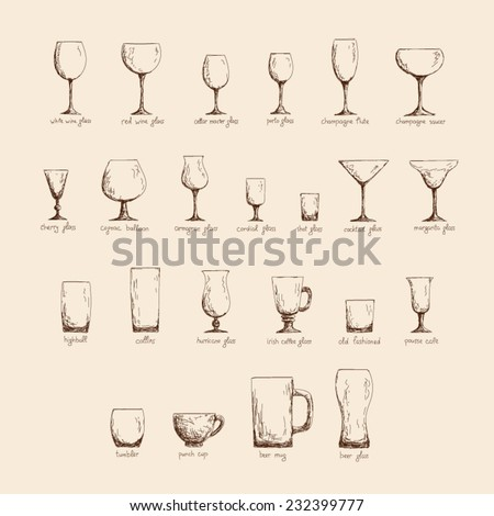 Collection of different glass glasses for different drinks, hand drawn illustration in sketch style, vintage color edition - stock vector