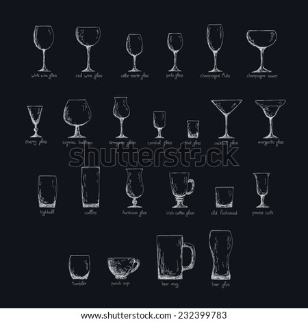 Collection of different glass glasses for different drinks, hand drawn illustration in sketch style, inverse color edition - stock vector