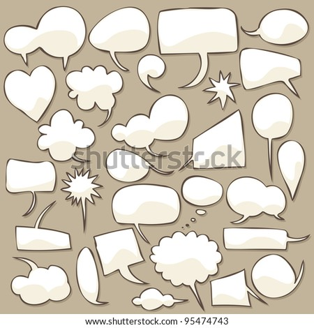 Collection of different shaped speech bubbles. - stock vector