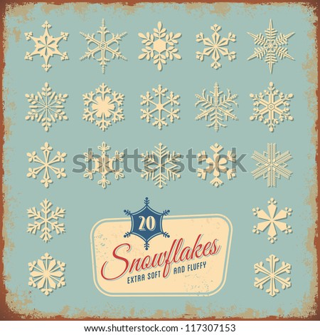collection of 20 different snowflakes - you may also replace the text and use it for your holiday greetings - stock vector