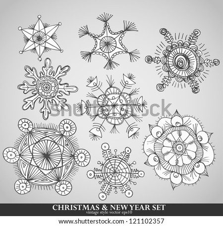 collection of 8 different snowflakes - you may also replace the text and use it for your holiday greetings - stock vector