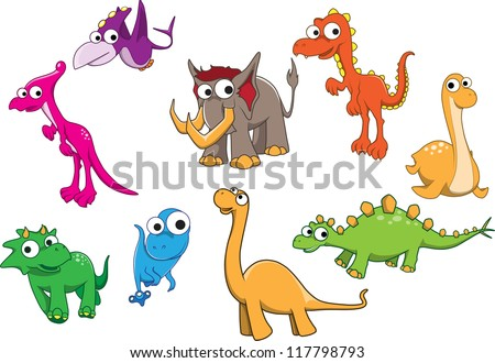 Collection of dinosaurs - stock vector