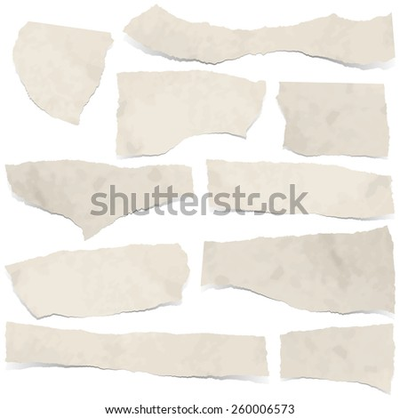 collection of dirty colored scraps of papers with shadows - stock vector