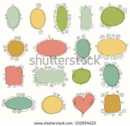 Collection of doodle frames - stock vector