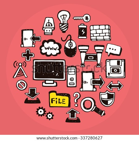 Collection of doodle web & computing icons - stock vector