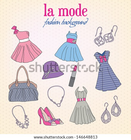 Collection of doodles representing fashion and shopping - stock vector