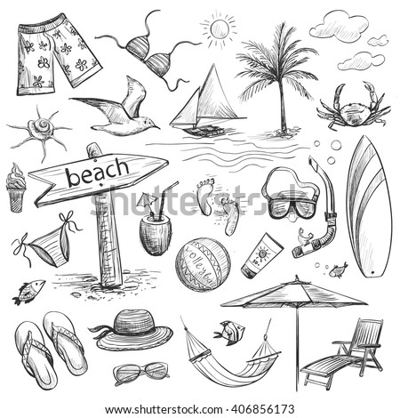Collection of drawings of hands on vacation , sea, beach . Isolated pictures on a light background . - stock vector