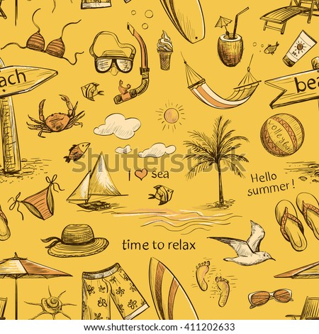 Collection of drawings of hands on vacation , sea, beach . Isolated pictures on a light background. Seamless pattern - stock vector