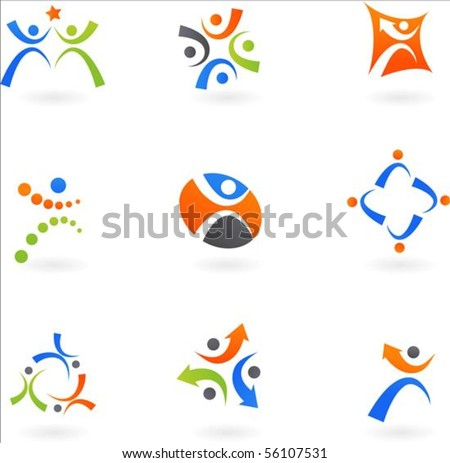 Collection of dynamic human icons - stock vector