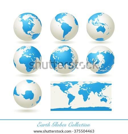 Collection of earth globes isolated on white.  illustration. - stock vector