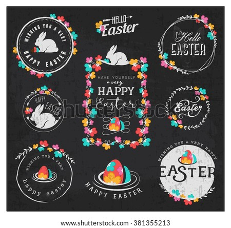 Collection of Easter Greeting Card Designs and Illustrations with Rabbit, Eggs and Flowers - stock vector