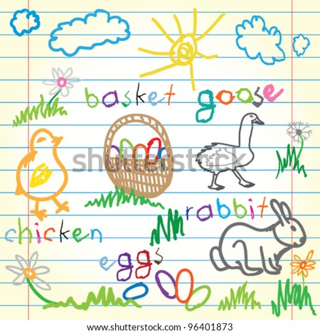 Collection of easter icons - stock vector