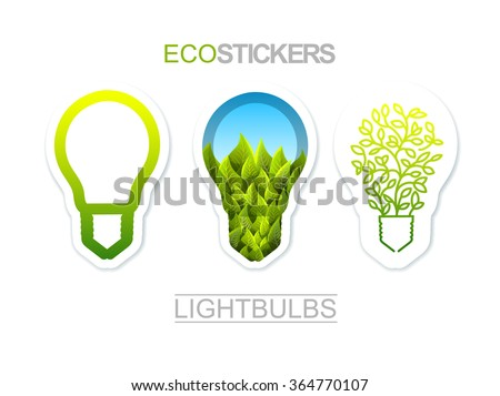 Collection Of Eco Theme Stickers. Lightbulbs Set - stock vector