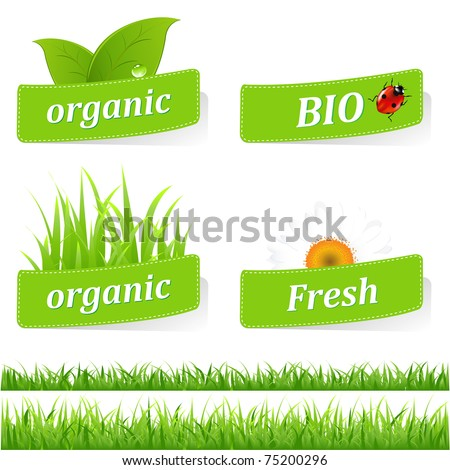 Collection Of Ecological Stickers, Isolated On White Background, Vector Illustration - stock vector