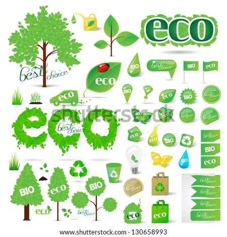 Collection Of Ecology Symbols - Abstract - Isolated On White Background. Vector illustration, Graphic Design Editable For Your Design. Eco Logo - stock vector