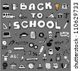 Collection of education hand-drawn doodle 50+ icons with Back To School text - stock vector