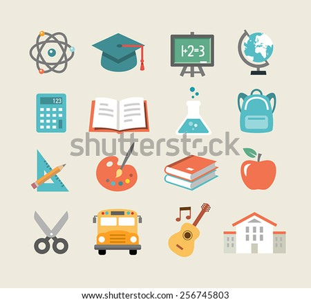 Collection of education icons in flat design style - stock vector