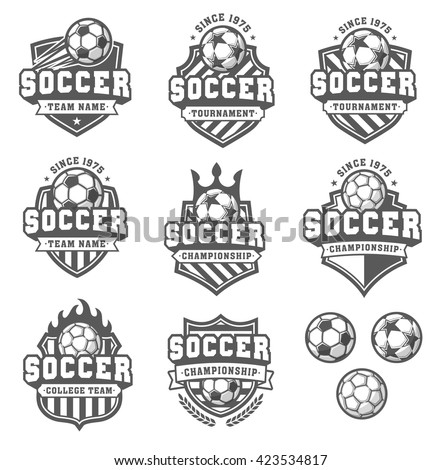 Collection of eight Greyscale Vector football or soccer logo and insignias - stock vector