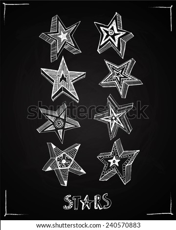 Collection of eight hand drawn stars on blackboard background. Isolated editable objects. - stock vector