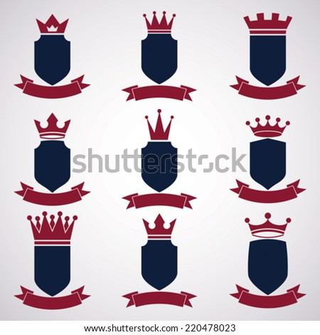 Collection of empire design elements. Heraldic royal coronet illustration - imperial striped decorative coat of arms. Set of luxury vector shields with king red crown and undulate festive ribbon. - stock vector