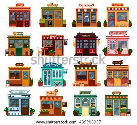 Collection of exterior street view of shop buildings with tables and chairs for buying groceries and spices. food, drink. Wine and tea,beer and coffee, sushi and candy, meat and fish, vegetable  - stock vector
