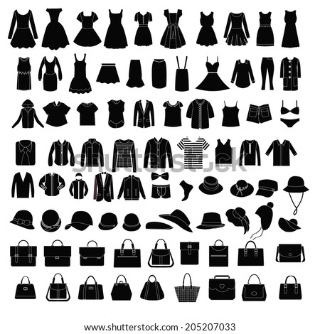 Collection of fashion Men's and Women Clothes and bags set of of Fashion elements  - stock vector