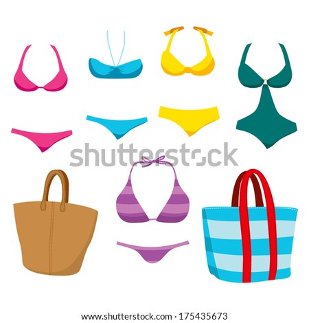 Collection of fashionable summer swim wear clothing elements and accessories for women - stock vector