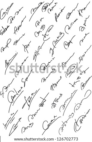 Collection of fictitious contract signatures. Autograph illustration. - stock vector