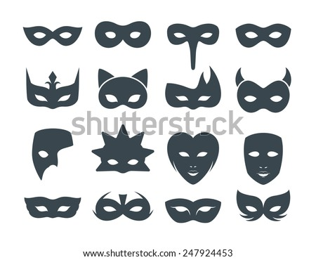 Collection of 16 Filled Carnival and Costume Mask Icons - stock vector