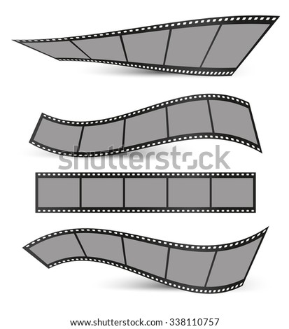 collection of film strips with shadows on a white background - stock vector