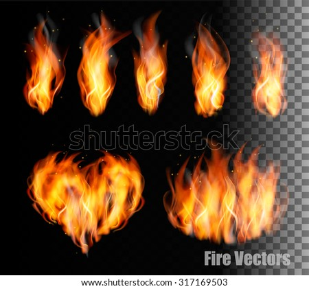 Collection of fire vectors - flames and a heart shape. Vector. - stock vector