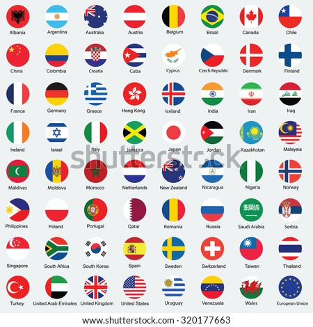 Collection of flag button design. Circle flags of the world. - stock vector