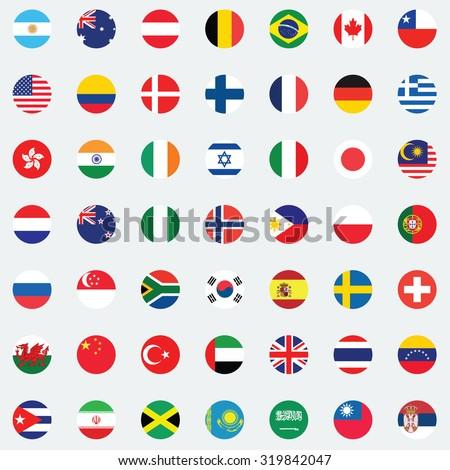 Collection of flag button design. Flag of world. - stock vector