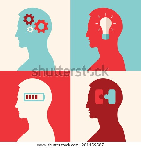 Collection of flat design colored vector illustration concepts for intelligence, intellectual work, productivity, creativity, efficiency - stock vector
