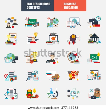 Collection of flat design concept icons for web and mobile services and applications. Icons for education, e-learning, online education, knowledge, online learning, learn to think. - stock vector