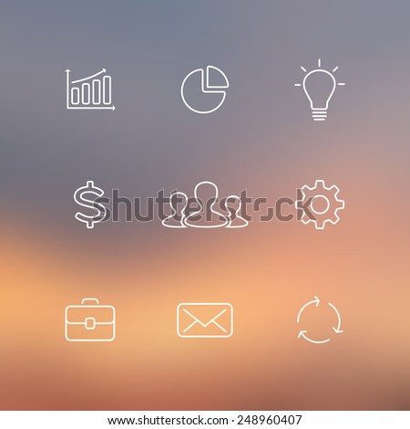 Collection of flat line business icons. Can be used for finance project, office work, people communication, success of project, infographic or presentation. Linear graphic with blur vector background. - stock vector