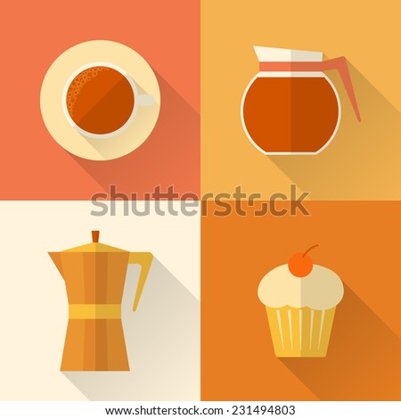 Collection of flat style coffee icons with long shadow - stock vector