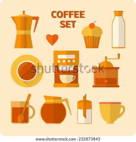 Collection of flat style coffee icons with shadow - stock vector