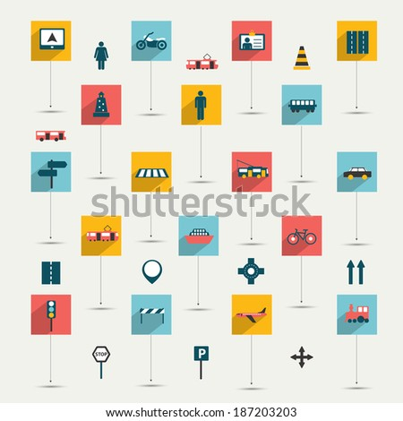 Collection of flat transport sign. Traffic symbols. Vector isolated.  - stock vector