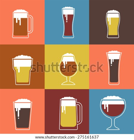 Collection of flat vector Beer glasses. Icons and illustrations - stock vector