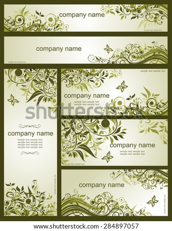 Collection of floral retro olive templates - stock vector