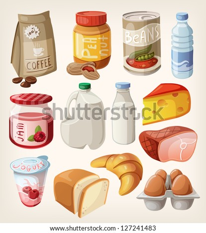 Collection of food and products that we buy or eat every day. - stock vector