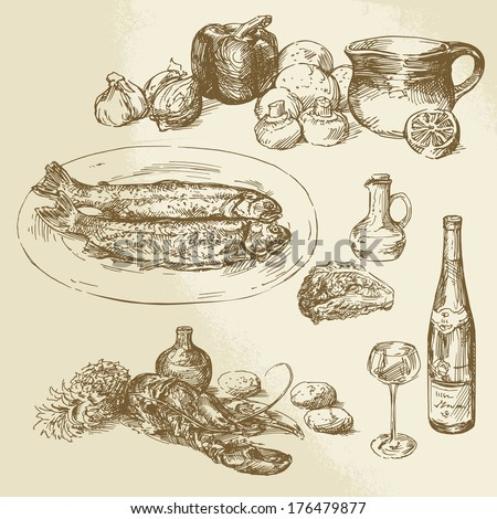 collection of food - hand drawn illustration - stock vector