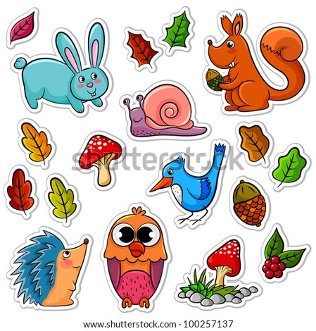 collection of forest animals and plants - stock vector