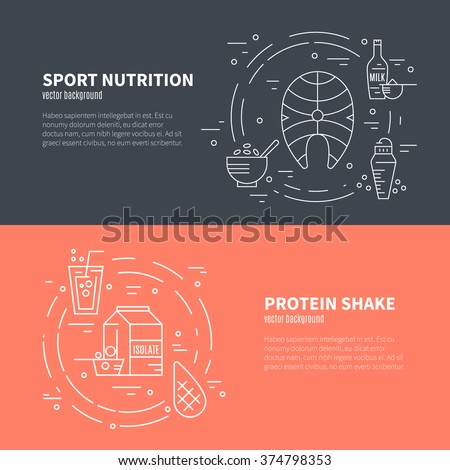 Collection of four banners with sport nutrition. Diet design element. Healthy food and sport nutrition symbols made in line style vector. - stock vector