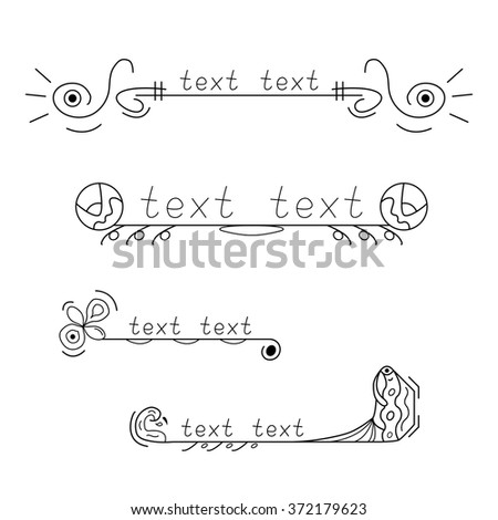 Collection of four black and white vintage decorative frames. All of them have space for text placement. - stock vector