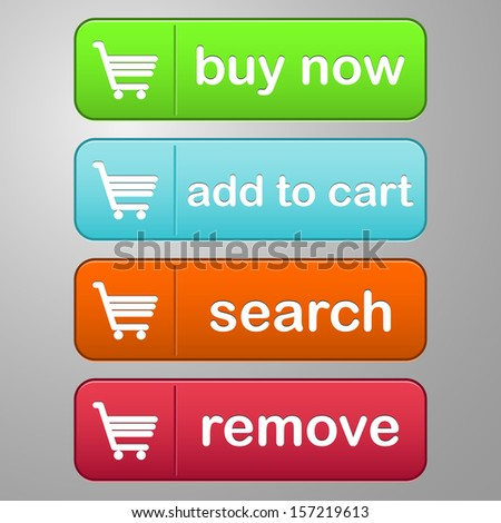 collection of four colored buttons with text buy now, add to cart, search and remove with a cart icon - stock vector
