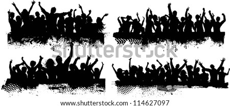 Collection of four different grunge crowd scenes - stock vector
