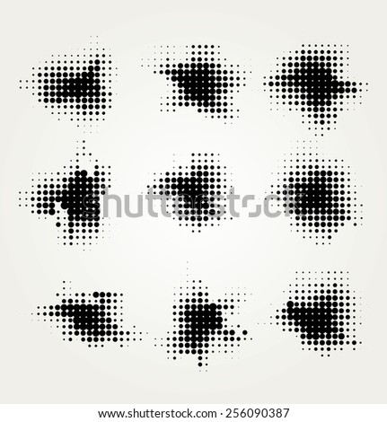 Collection of four ink splats - stock vector